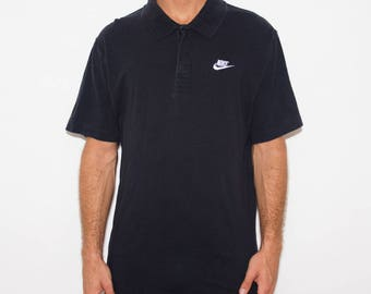 Nike, 90s Polo, Nike Polo Shirt, Vintage Nike, 90s Nike, Nike Swoosh, Black Polo, Nike Vintage, 90s Fashion, Athletic, Preppy, Large