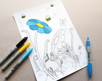 Bug coloring page Etsy