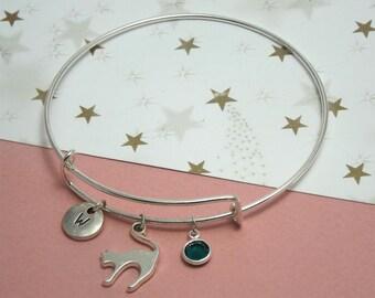 Cat bangle bracelet Kitten jewelry Silver cat bracelet charm Cat jewelry bracelet Cat lover gift kids Cat charm bracelet Kitten bracelet