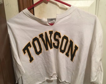 Towson University Distressed Crop Top
