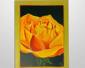 Rose of the fire - painting on wood, gift for dear friend, wall decoration, artistic gift