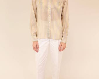 CELINE pastel striped vintage button down with logo mark SIZE M