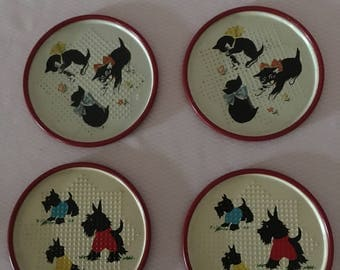Vintage Metal Coaster Set of 4 with Scottie Dogs and Kittens, 4 Metal Drink Coasters, Dog and Kitten Coasters
