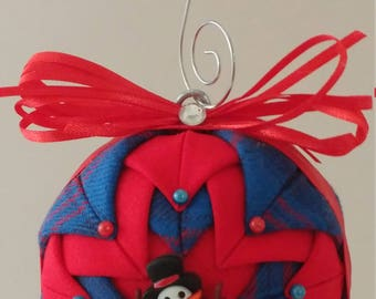 Blue & Red folded fabric handmade ornament and melting snowman decoration