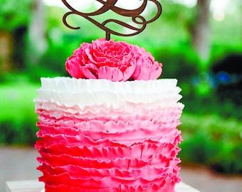 E Cake Topper E Custom Wedding Cake Topper B Names Cake Topper Gold Monogram Letter G D W N Rustic Cake Topper wood letter L Single Letter E
