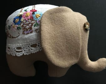 Handmade Elephant made with Vintage Wool and Vintage Doily