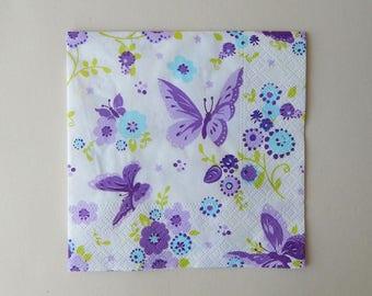 "2 napkins paper ""flight of butterflies"""
