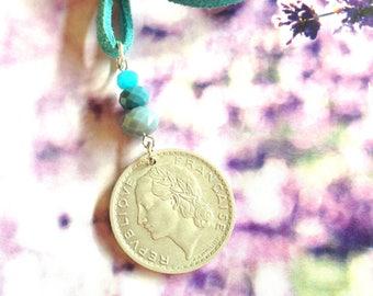 Vintage coin Necklace. 1949. France.