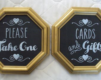 Handcrafted Wedding Chalkboard Signs:   Please Take One + Cards and Gifts