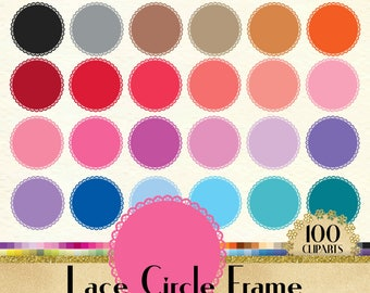 100 Lace Circle Frame Clipart, Frame Digital Clip art, Label Clipart, Lace Clipart, 100 PNG Clipart, Planner Clipart, 100 Circle Clip Art