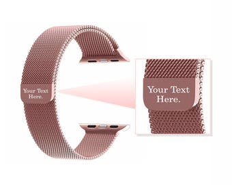 Rose Gold Milanese Engraved Apple Watch Band Watchband 38mm 42mm Luxury Bracelet Band Adjustable Girlfriend Gift Best Friend Gift Birthday