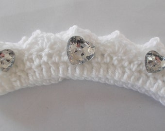 Girls Hand crocheted crown , with faceted heart embellishments , 0 - 3 months.