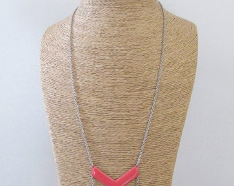 Coral and silver herringbone necklace