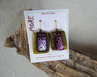 Purple metal inclusion and olive green transparent fused glass earrings
