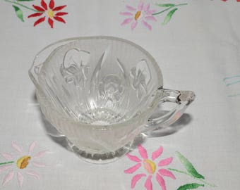 Vintage, Depression Glass, IRIS and HERRINGBONE, Jeannette Glass, Creamer, Clear Pressed Glass, Depression Era, mint condition