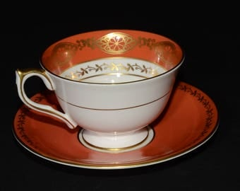 Vintage AYNSLEY burnt orange, cranberry red, footed tea cup and saucer set, English bone china tea cup, 2937, Gold Filigree