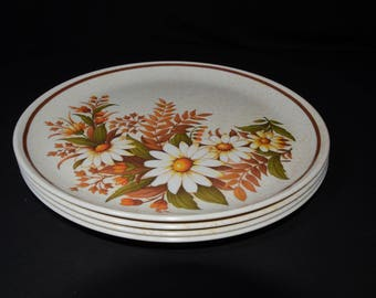 "Vintage, Set of 4, Dinner Plate, floral design, Mid century, by SUNRISE, Hard Plastic, Melamine, Dinnerware, Camping, 9 1/2"", Daisy, Canada"