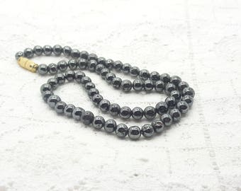 Hematite Round Beads Necklace/16 Inch Length/Barrel Closure/Vintage