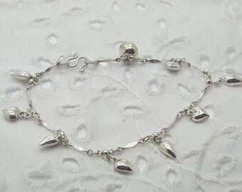 Sterling Silver Heart Charm Bracelet/Delicate Vintage Bracelet/Free Shipping US/Birthday, Christmas, Valentine, Anniversary Present