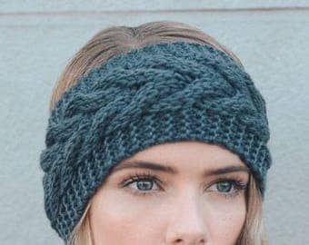 Gray Cable Knitted Winter Headband