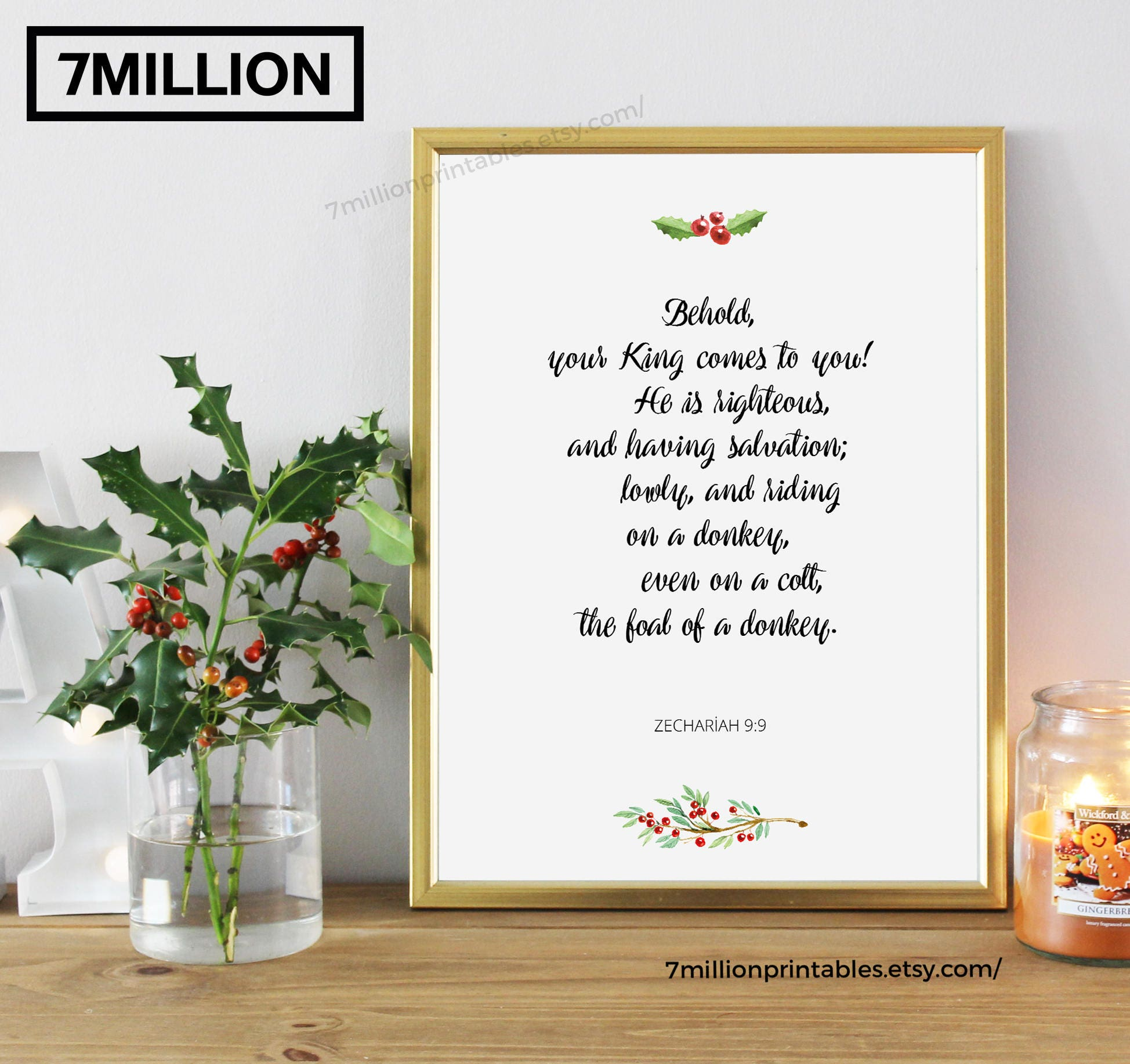 Zechariah 9:9, Behold, your King comes to you, Bible Quote Printable ...