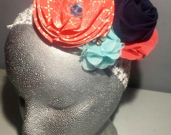 Coral/Turquoise/Navy Floral Head Band