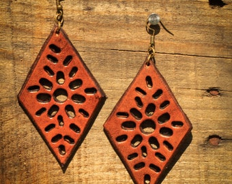 Cora Brown Cutout Earrings | Leather Earrings | Birthday Gift | Anniversary | Gifts under 25 | Handmade | Gifts for Her