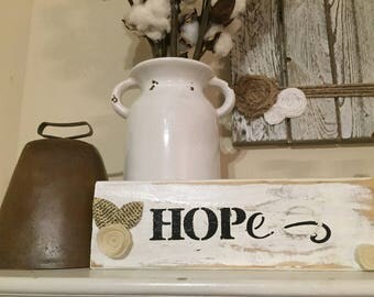 Rustic white washed paper wood with Hope and felt flowers