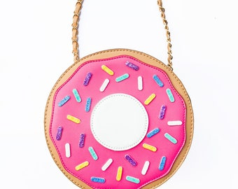 Hot Pink Donut Purse - Cross Body Bag - Donut Party -Christmas Gift -Purse for Kids -Pastel Goth -Fairy Kei -Lolita -Creative Bag -Sprinkles