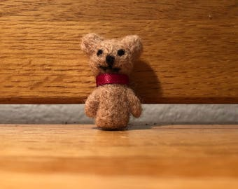 Christmas Felt Teddy Bear Ornament Needlefelt Felted Cute Miniature Tiny Holiday Decoration - Teddy Bear Christmas Ornament