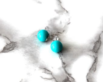 Cute Teal Stud Earrings, Silver Plated Jewelry, Retro Earrings, Vintage Fashion, Gifts For Her Under 10, Birthday Gifts, Cool Plastic Studs