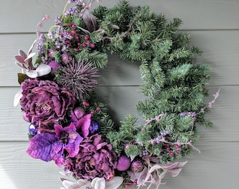 Christmas or Winter Wreath in Purple