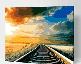 Journey Paint By Number kit/ Leading to the future DIY oil painting / railway painting/ Landscape painting/ Acrylic painting/