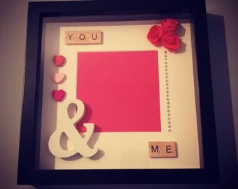 You & me scrabble box frame Wedding, Anniversary, birthday, Valentines