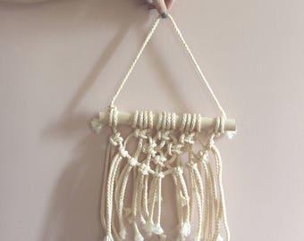 Small Adorable Macrame wall hanging, woven wall hanging, woven wall tapestry, boho, wall tapestry, macrame, boho home decor, textile hanging