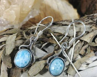 Larimar one of a kind sterling silver handmade earrings / Crystal Lover earrings with Larimar Cabochons / Boho style earrings