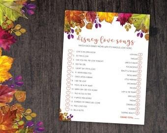 Fall Bridal Shower Disney Love Songs Game - Fall - Instant Printable Digital Download - Bridal Shower Games