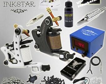 Brand New Complete Tattoo Kit 2 Machine MAKER Set Gun Professional Black Ink FREE SHIPPING