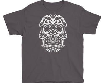Tribal VooDoo Day Of The Dead Halloween Skull Print Youth Short Sleeve T-Shirt