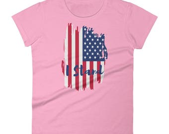 I Stand - American Pride Patriotic National Anthem American Flag Football Boycott Women's Short Sleeve T-shirt