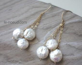 coin Pearl K14GF Earrings