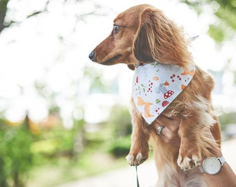 Dog Bandana | Double-sided | Grey Forest | Free Shipping to Canada