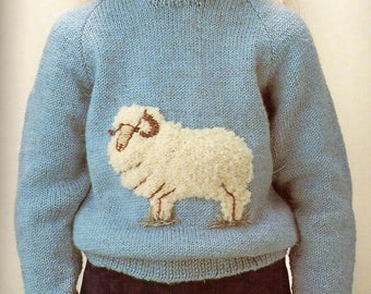 Kids Sheep Jumper, Knitting Pattern, Instant Download.