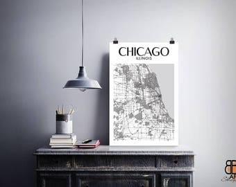 Chicago Poster, Chicago Art, Chicago Print, Chicago Map, Chicago Gift, Chicago Illinois Map Print, Chicago, Chicago City, Chicago Wall Art
