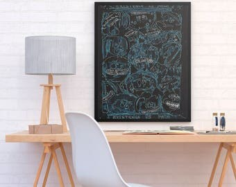 ALI - Rick and Morty Meeseeks existence is pain planet efect poster print perfect to decor your room or home (MEGA Limited Edition)