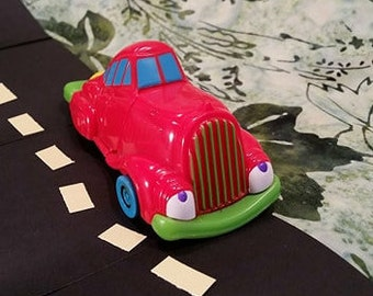 1998 Wendy's Kid's Meal Toy/ Red Toy Car/ Smiling Car/ Extendable Car/ Vintage 90's Toy