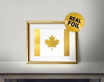 Gold Canadian Flag, Real Gold Foil Print, Canada, Canadian Leaf, Leaf Logo, National Flag of Canada, Gold Foil Print, Framed Flag