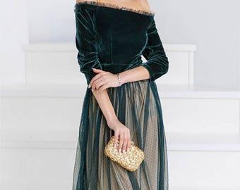 Retro prom dress, evening dress, velvet dress, evening gown, elegant dress, floor length dress, maxi dress