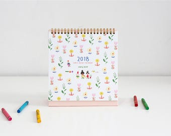 2018 DESK CALENDAR | Illustrated Calendar | Christmas Gift | Stand Calendar | Calendar 2018 | Scheduler | Free Notes | Ring Binding Calendar