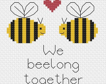 "Bee Cross Stitch Pattern - ""We beelong together"" - Cute - Funny"